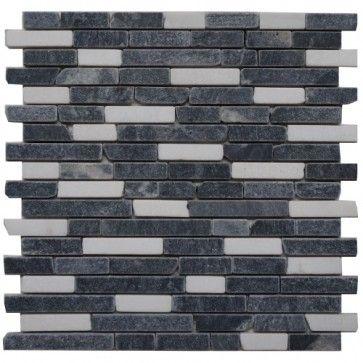 Mozaïek tegel marmer 30x30 cm | Marmersoort: Greyblack, Ariston ...