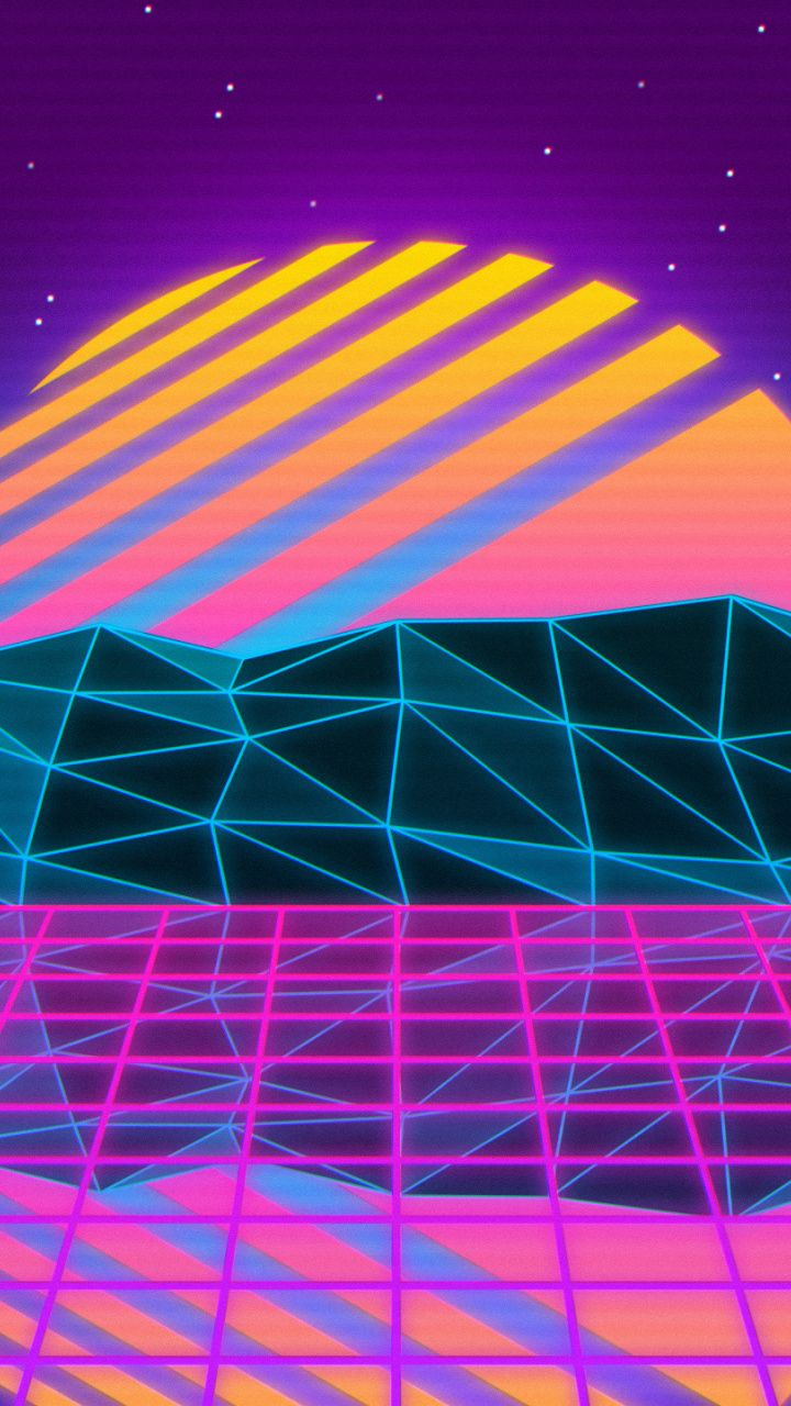 Vaporwave, retro, sun, mountains, landscape, art, 720x1280