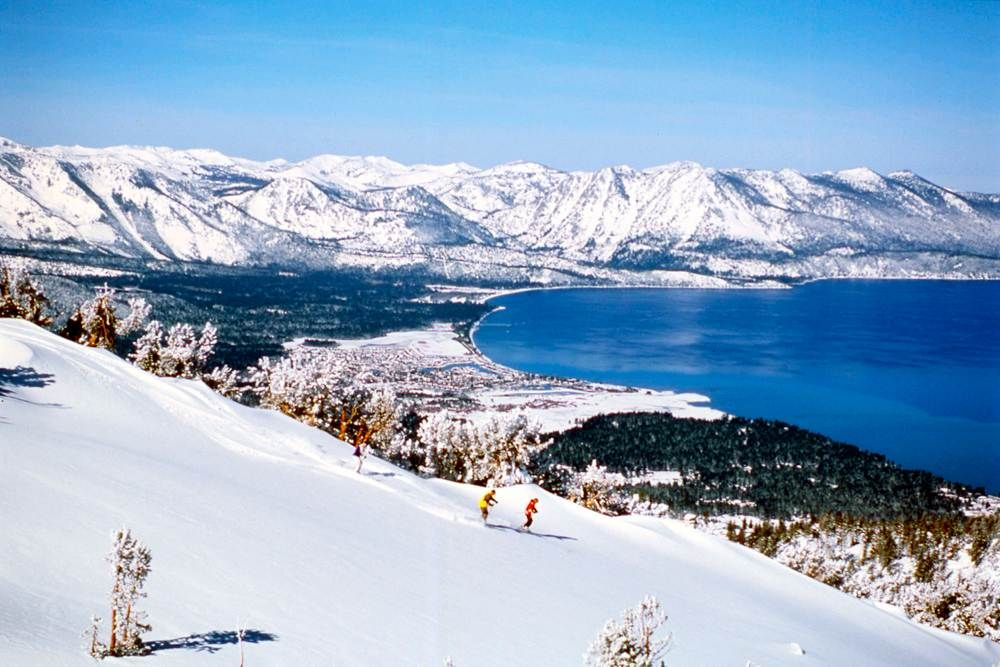 America the beautiful skiers make their way down the