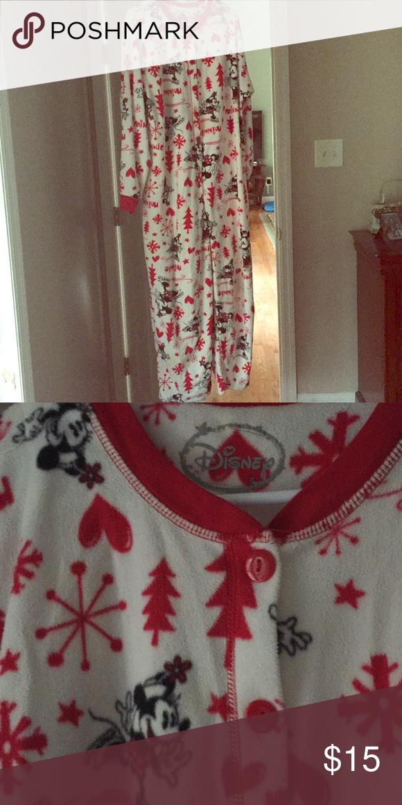 92f756a1b112a Disney Mickey and Minnie fleece onesie pajamas Fleece one piece Disney  Intimates & Sleepwear Pajamas