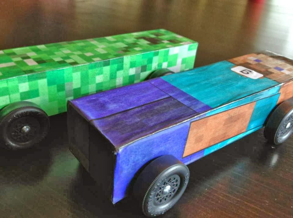 The boys wanted Minecraft pinewood derby cars for Cub Scouts which - pinewood derby template