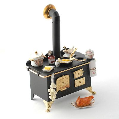 Dollhouse Furniture · 1:12 Scale Black Stove With Food And Utensils