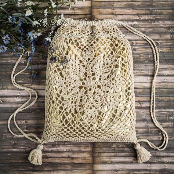 Häkeln Sie Drawstring Bag PATTERN – Lotus – Rucksack, Market Net Lace, Lebensmittelgeschäft #bagpatterns
