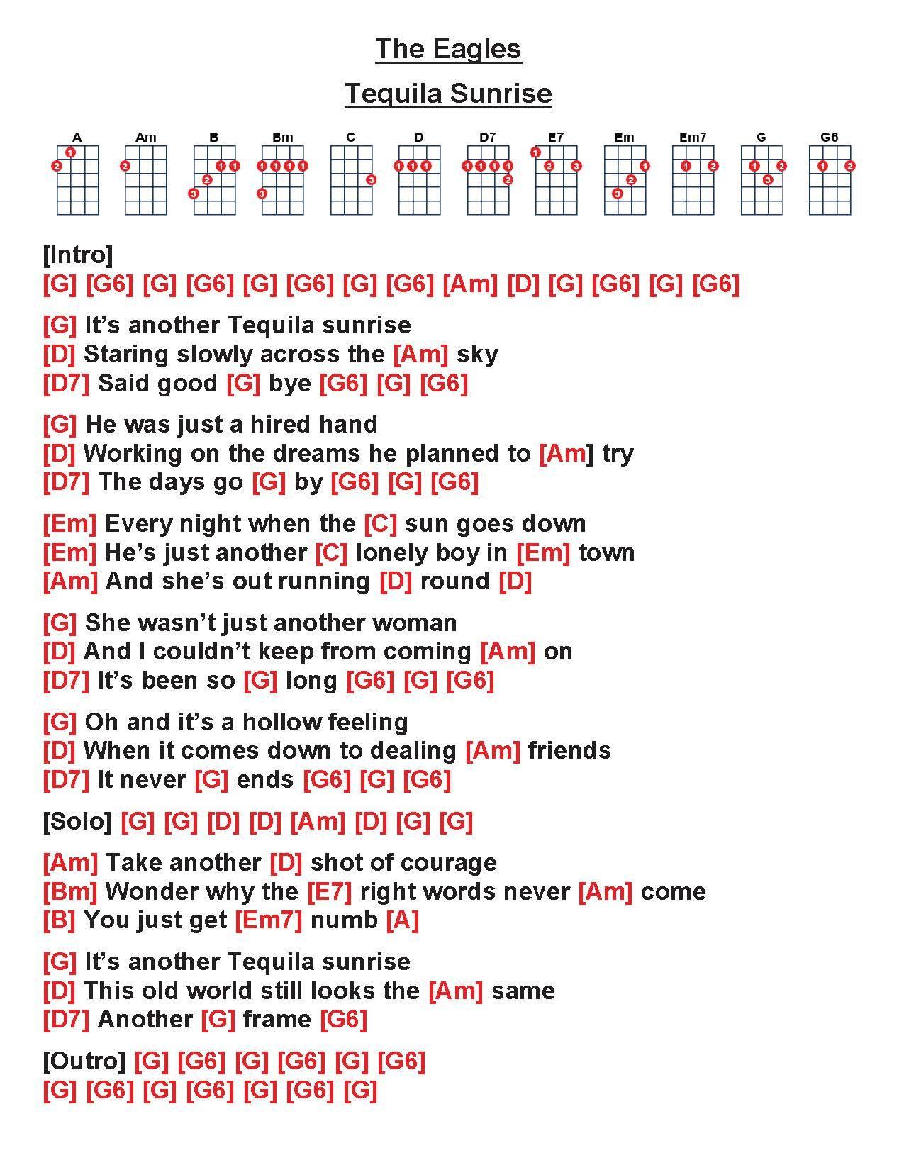 The Eagles   Tequila Sunrise [W]   Easy ukulele songs, Guitar ...