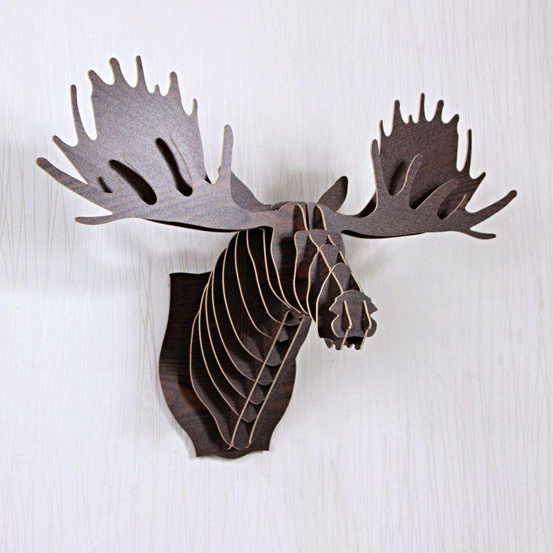 Aliexpress Com Koop Rendier Hoofd Home Decoratie Muur Art Diy Houten Craft Decor Muur Muurstickers Hom Deer Head Wall Decor Animal Head Wall Wooden Reindeer