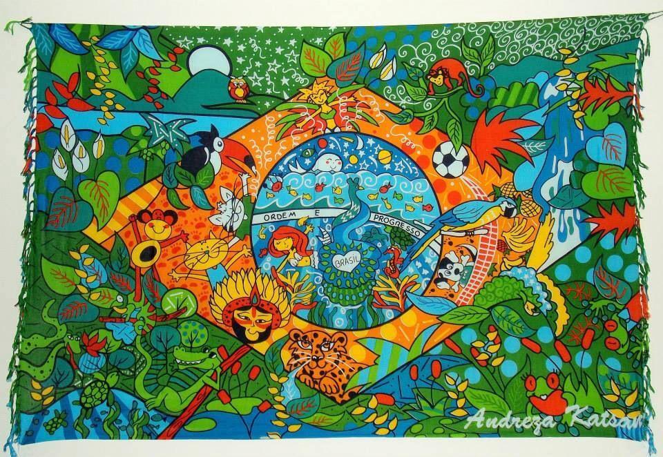 86466ef90 Canga de Praia Bandeira do Brasil ,Andreza Katsani   Cangas de praia ...