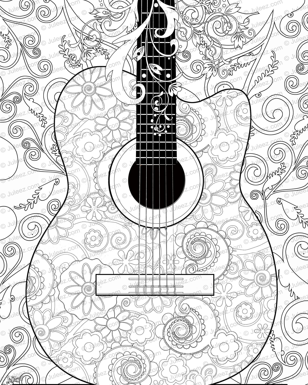 Guitar Flowers Coloring Poster Printable Guitar Coloring Poster