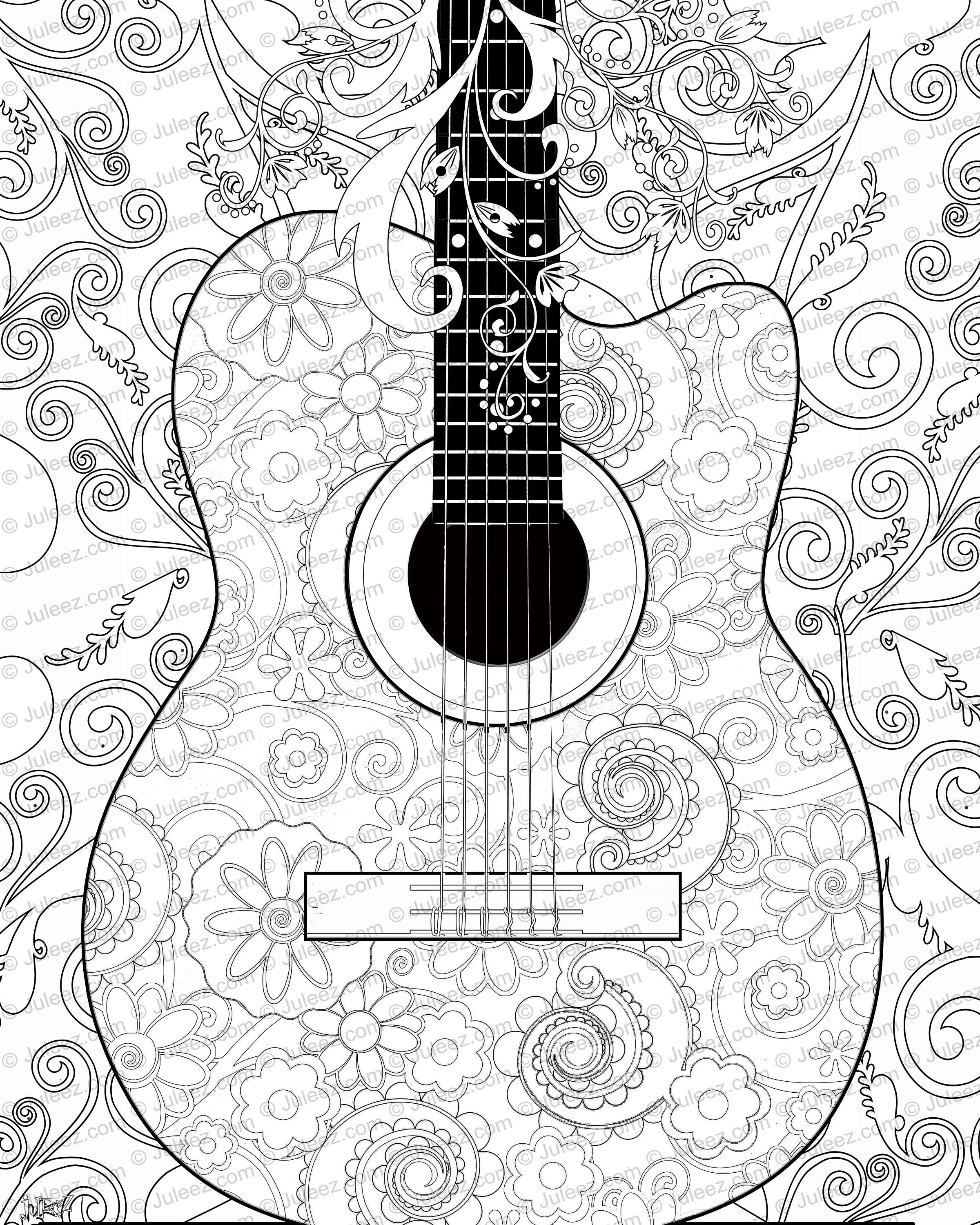 Guitar Flowers Coloring Poster Printable Guitar Coloring Poster