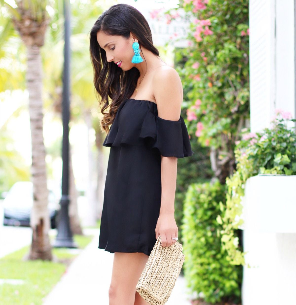 Off The Black Dress With Turquoise Tel Earrings