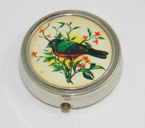 Vintage Pill Box with Bird Image by thefashionfarmboy on Etsy, $8.00