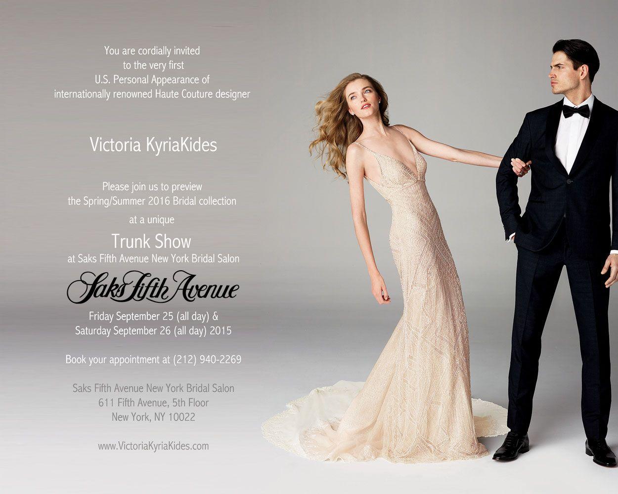 Victoria KyriaKides At Saks VKK Unique Gown Bride Wedding