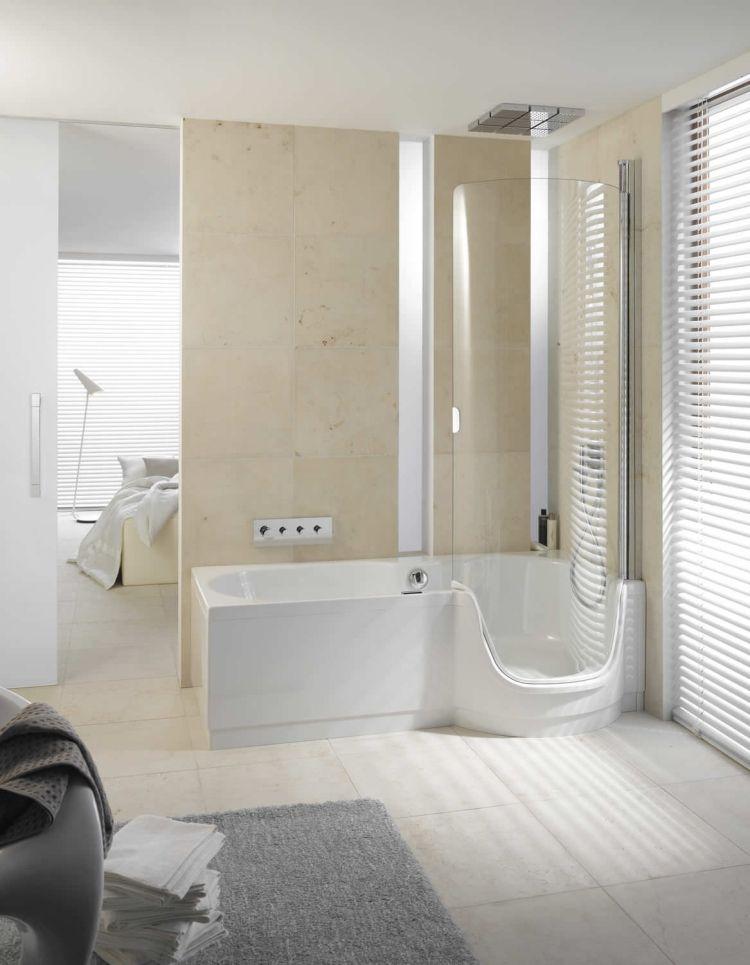 großformatige Wand und Bodenfliesen in Creme Farbe Einrichten - farbe im badezimmer