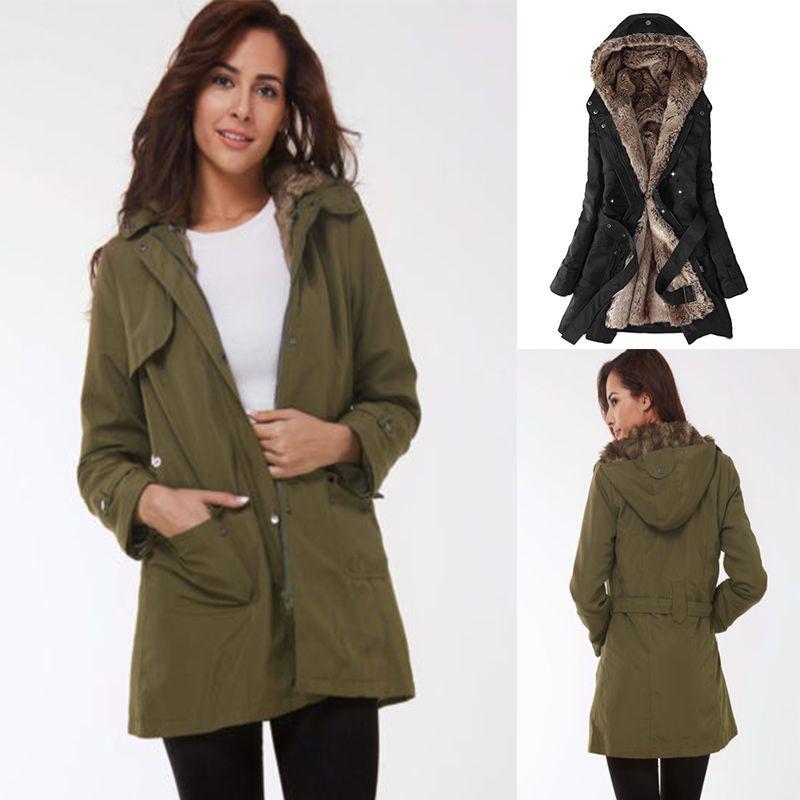dceb85d01 2017 Womens Thicken Warm Winter Coat Hood Parka Overcoat Long Jacket Outwear  | eBay