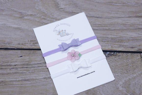 Kit Faixas Laços e Flor(Pronta entrega)
