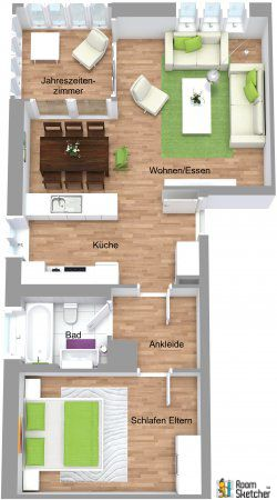 3d Floor Plan With Aerial View For Neugruen S E1 Floor Plan Our Housing Manufacturer Of The Week Though Home Developers House Floor Plans House Blueprints
