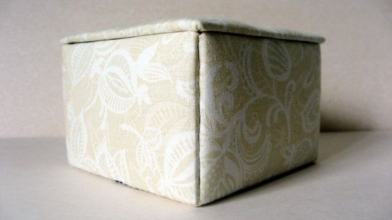 Cream jewelry box fabric jewelry box keepsakes box by hazelgibbs