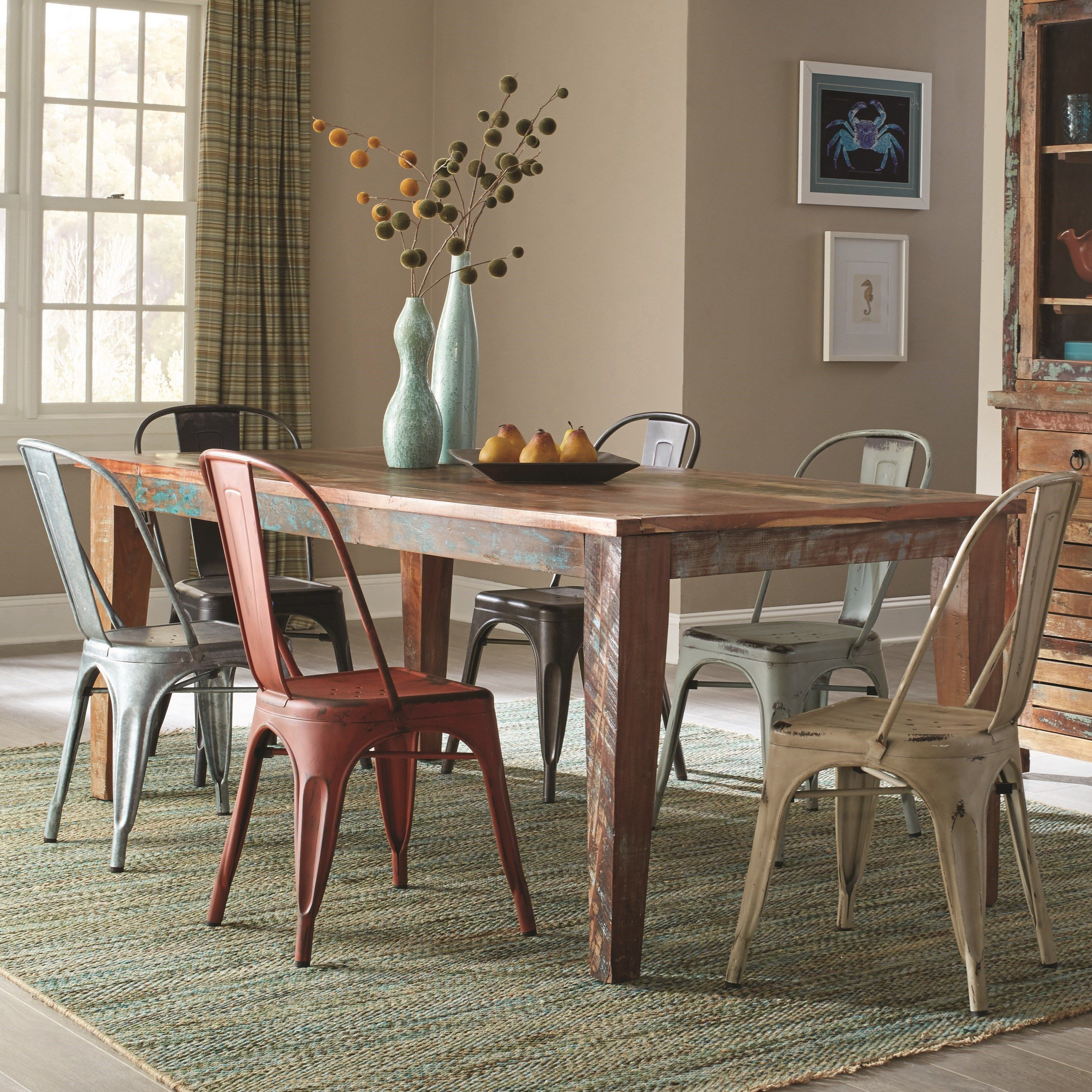 Keller Rustic 7 Piece Table Set With A Distressed Finish By
