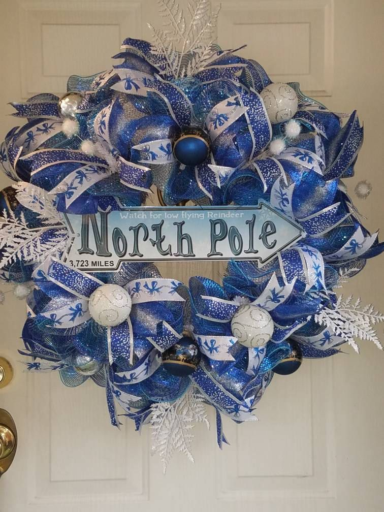 Christmas Wreaths/Christmas Front Door Wreath/Holiday Deco Mesh
