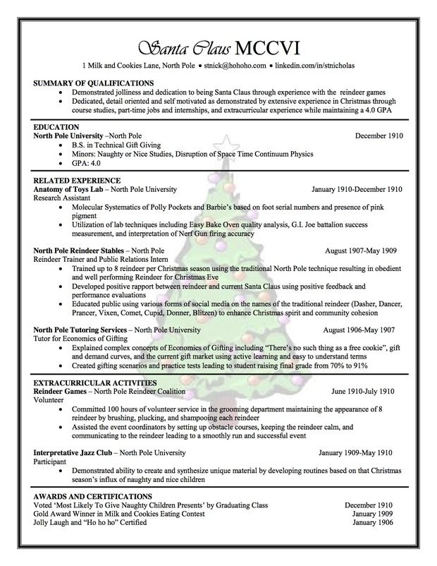 Santa Claus Resume By Carissa Miyano Of Northern Arizona