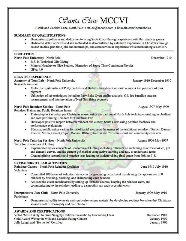 Santa Claus\u0027 Resume by Carissa Miyano of Northern Arizona University