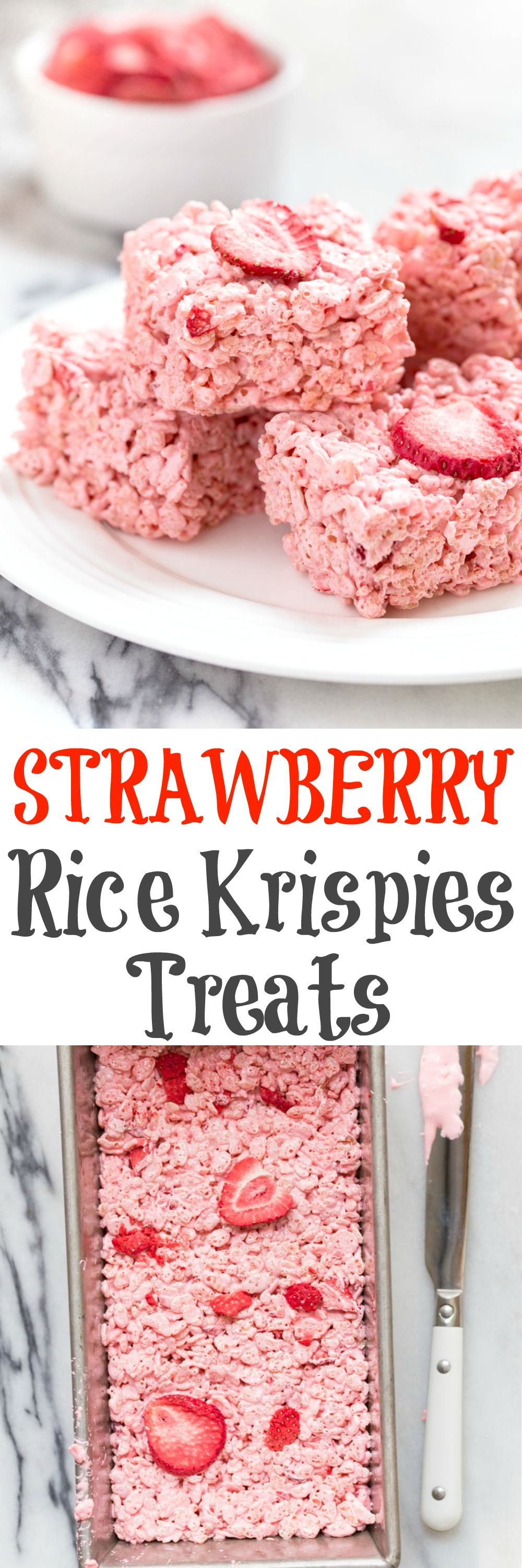 A small batch of rice crispy treats for two--made in a bread loaf pan. This one is flavored with strawberry marshmallow fluff and dried strawberries! @DessertForTwo #crispytreats