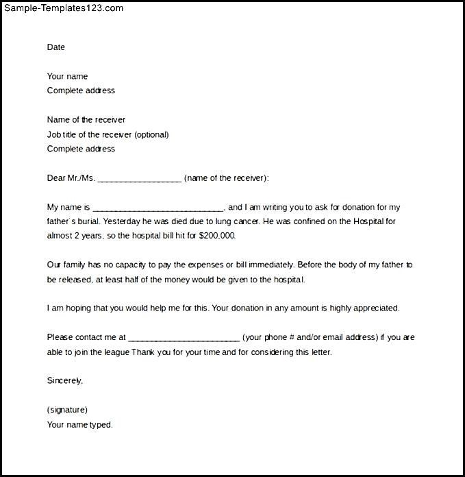 Sample Solicitation Letter for Donations for Death Word Download - donation request letter