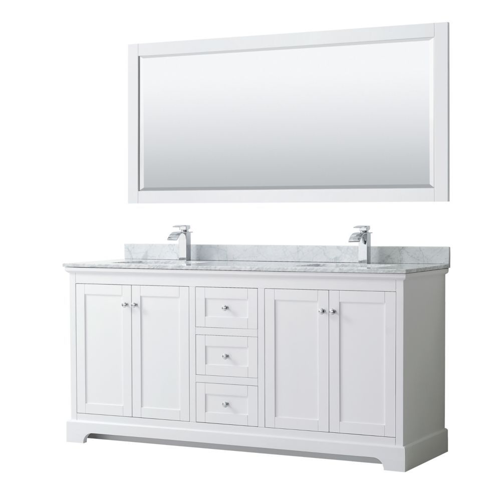 Avery 72 Inch Double Vanity In White White Carrara Marble Top