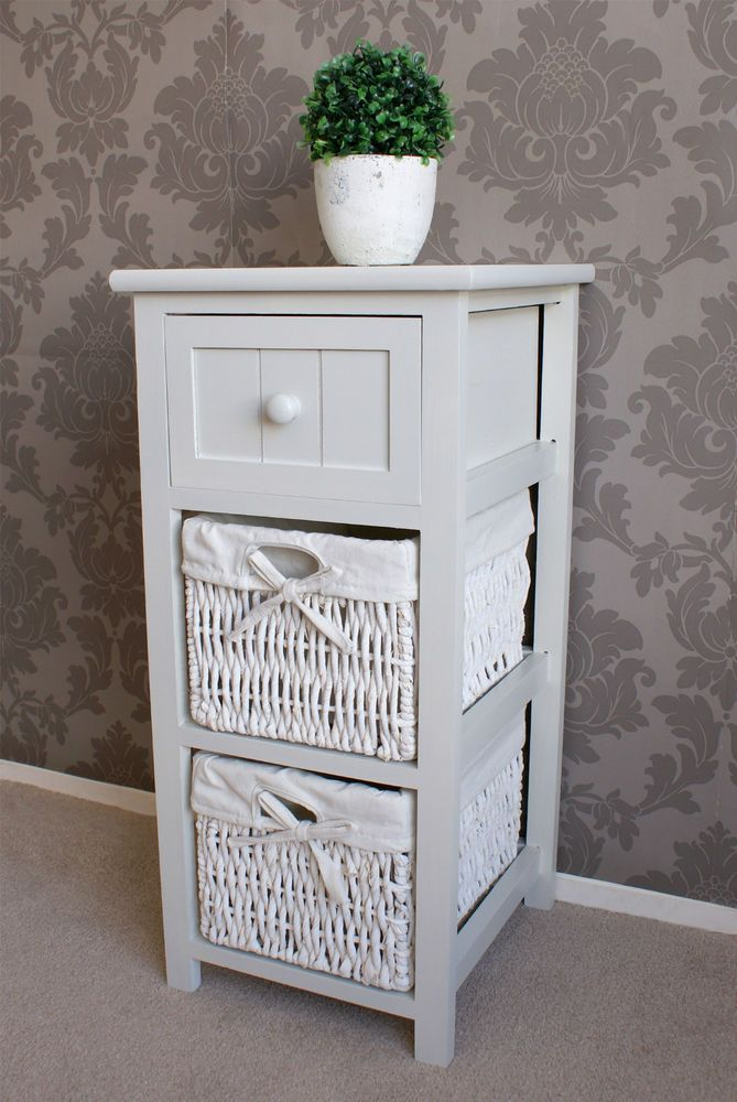 Whitehaven 3 Drawer Wicker Bedside Basket Storage Rattan Lamp Cabinet Farmhouse