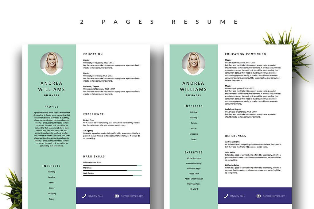 Download this modern 2 PAGE resume template (with an extra