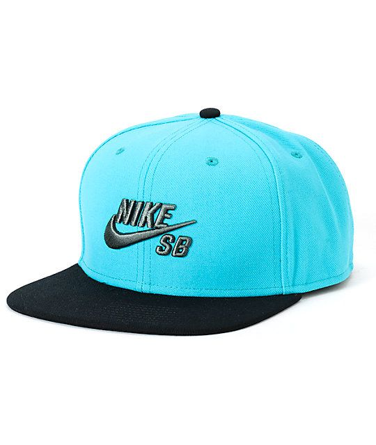 Iconic two tone style with a black bill accenting a teal crown that  showcases a grey Nike SB Swoosh logo embroidery. 891a3e2d8f08