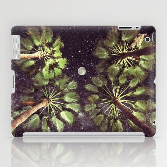 Elevated Paradise iPad Case #palmtrees #space #sky #stars #moon #fullmoon #nature #photography #design #perspective #elevate #elevated #night #evening #ipad #case #cover #ipadcase