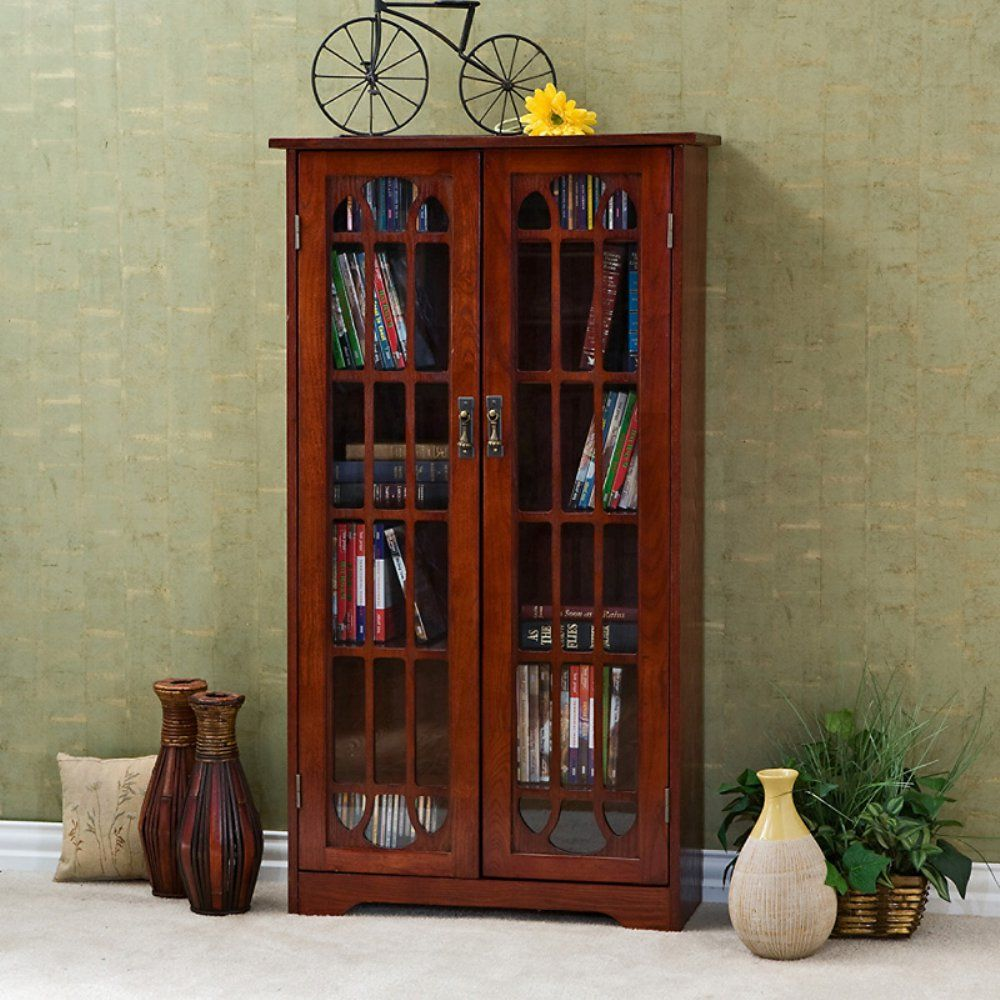 Southern Enterprises Glass Window Pane Media Cabinet Bookcase