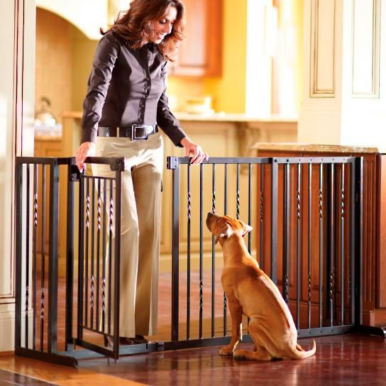 34 Inch Freestanding Pet Barrier With Walk Through Door