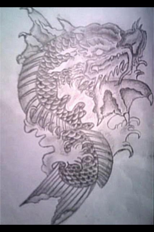 My dragon koi fish tattoo design tatts pinterest for Dragon fish tattoo