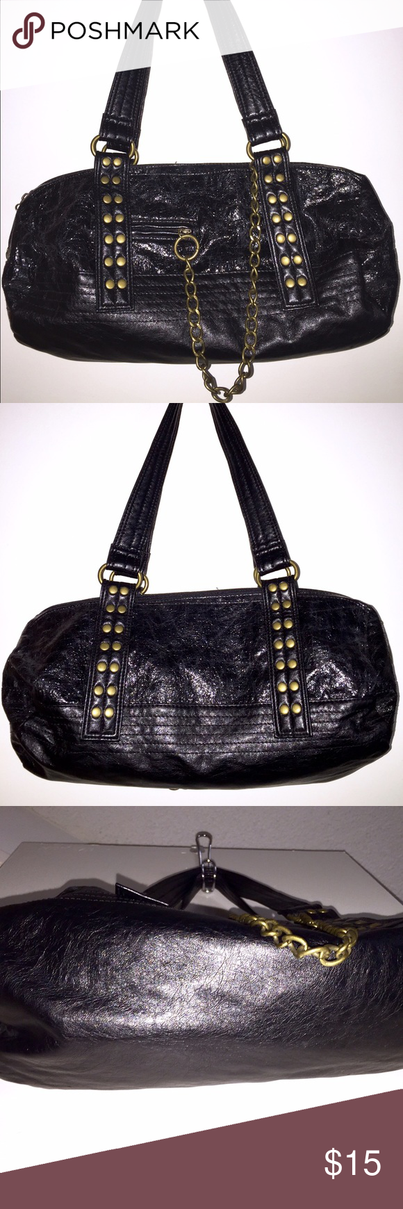 Black Satchel Purse Black Satchel Purse in shiny faux leather with brushed bronze hardware comes in LIKE NEW condition! No rips, tears or staining. Trendy and fashionable at a great price! Bags Satchels