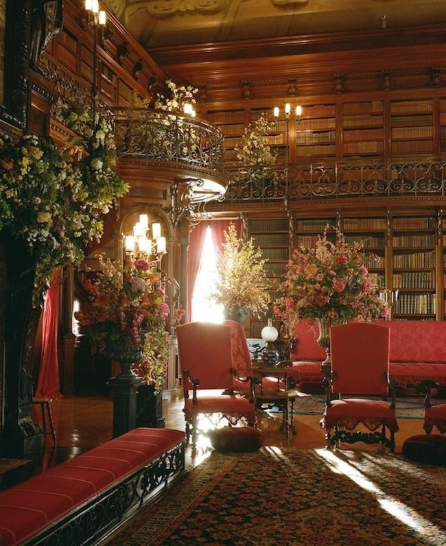 Biltmore Estate, Asheville, North Carolina ... I love the flowers, the books, railings, red & green arches - almost everything.