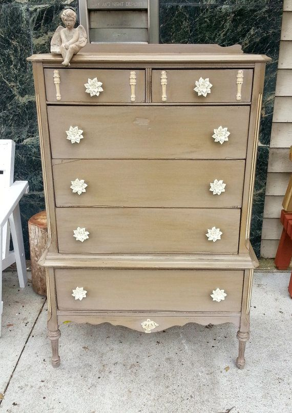 Shabby Chic Painted Taupe Paint Dresser With By