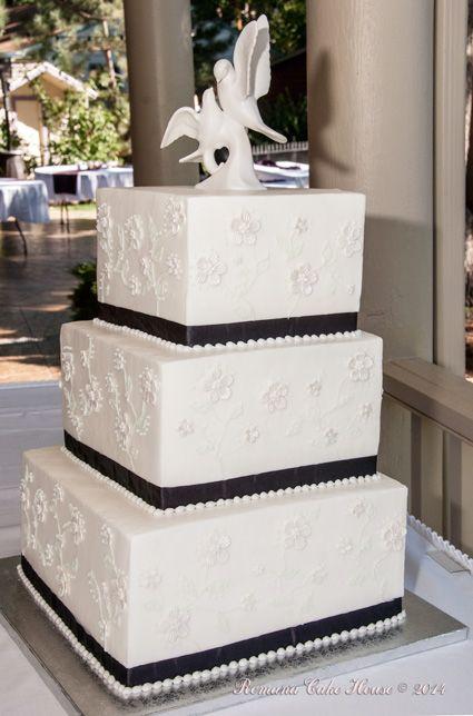 Elegant butter cream wedding cake.
