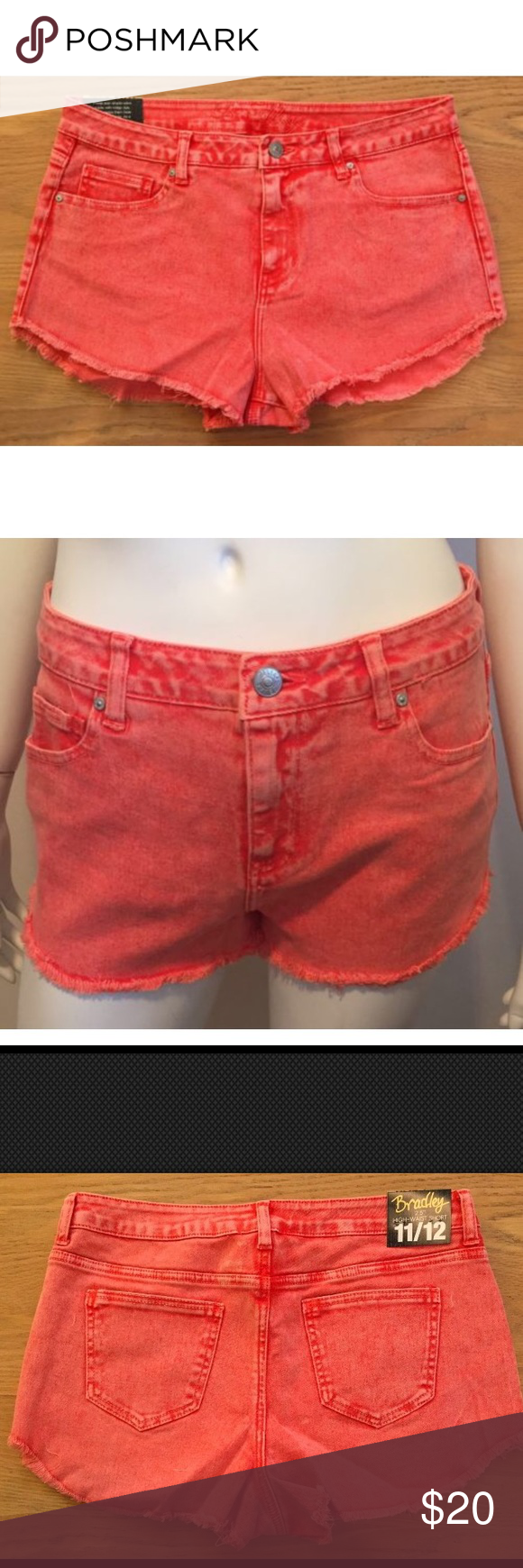 NEW Delias Red Jean Shorts High Waist Size 11/12 NWT | D, Abs and ...