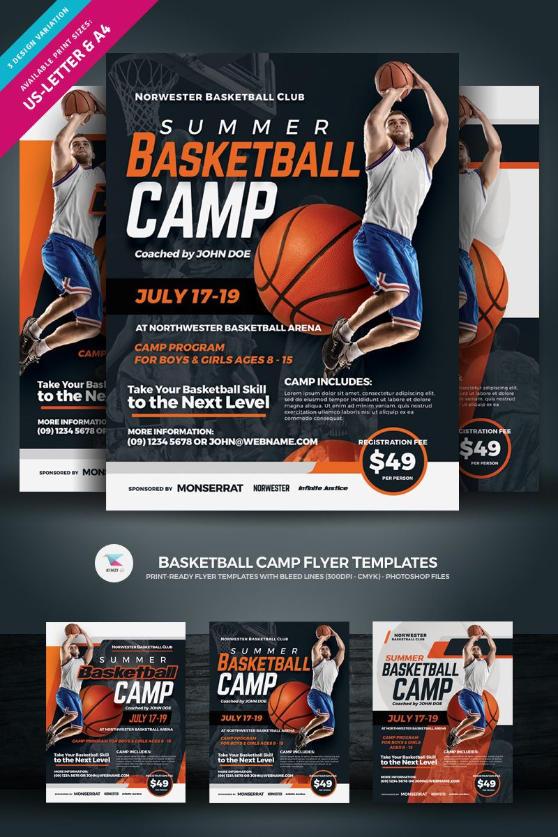 Basketball Camp Flyer Corporate Identity Template 84982