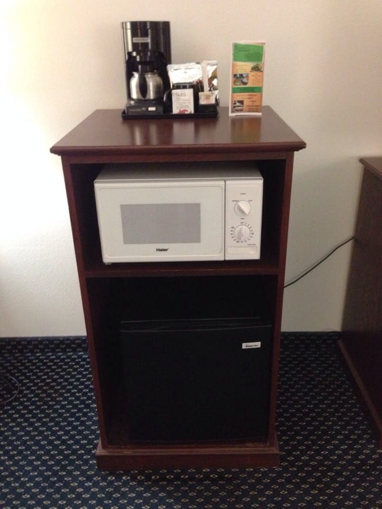mini fridge and microwave stand