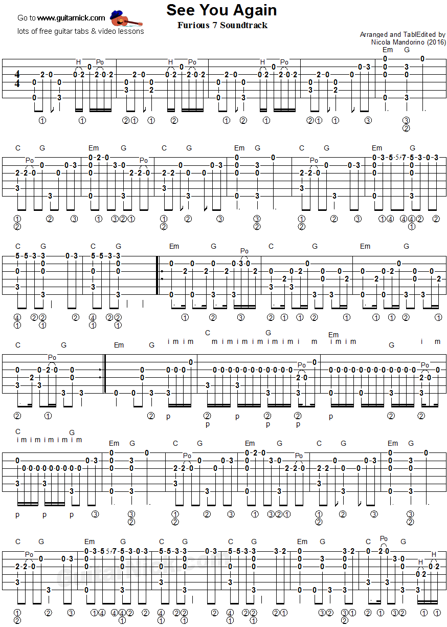 See You Again   fingerstyle guitar tablature 15   Fingerstyle ...