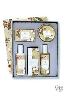Hawaii Island Bath & Body Deluxe Collection Set Pikake Jasmine by Buns of Maui. $129.49. Hawaiian Bath & Body products make a great gift for that special someone!. Island Bath & Body - Deluxe Collection Gift Set. Wrapped in graceful floral-patterned silk, this opulent Deluxe Collection Gift box brings the healing essence of the Islands to any vanity - including yours. Set includes our satin-smooth French-milled soap, travel tin candle, cologne mist, body lotion, and shower ...
