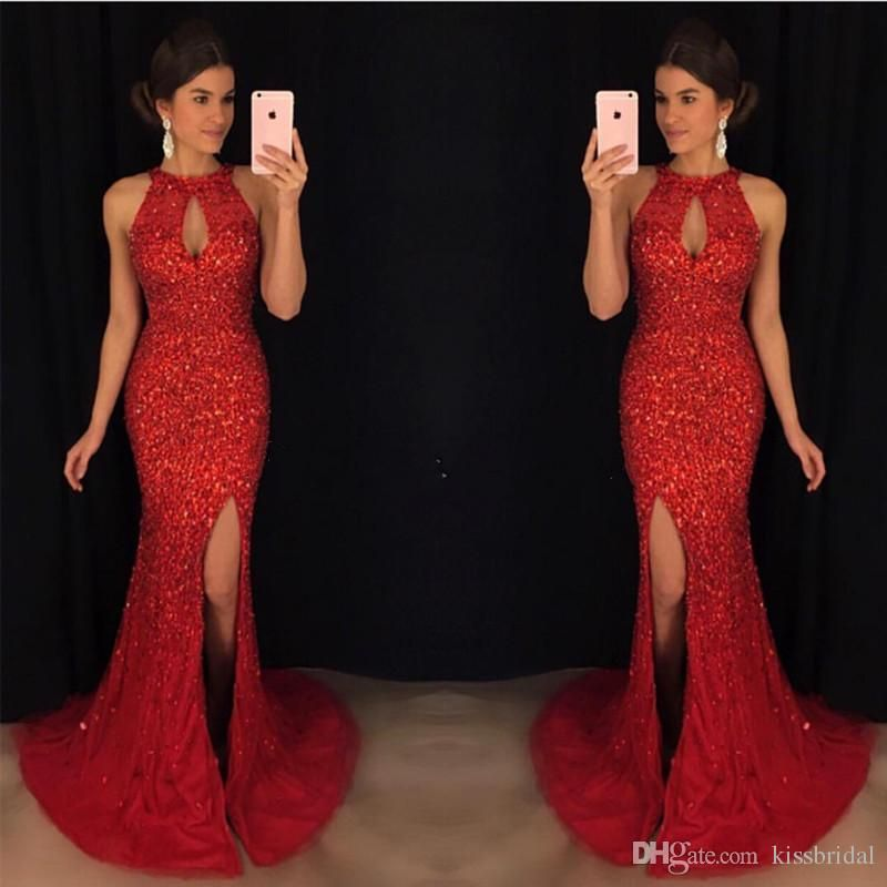 Luxury Bling Bling Prom Dresses 2018 Red Crystal Mermaid Evening Dresses  Sexy Split Front Key Hole Neckline Tulle Pageant Gowns Discount Prom Dress  Fashion ... 43495c855cc1