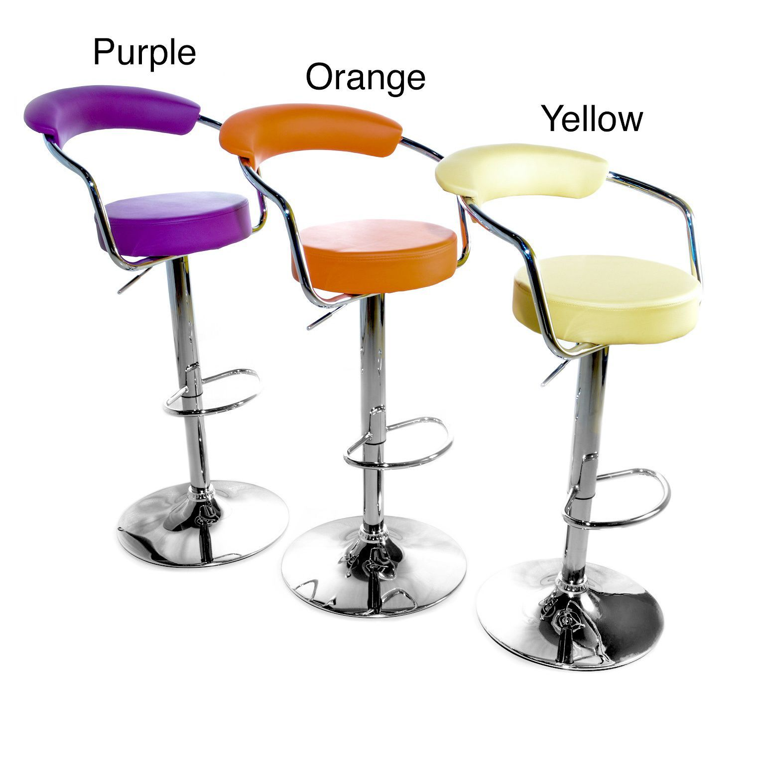This Vibrant Set Of Two Modern Adjustable Barstools Is A