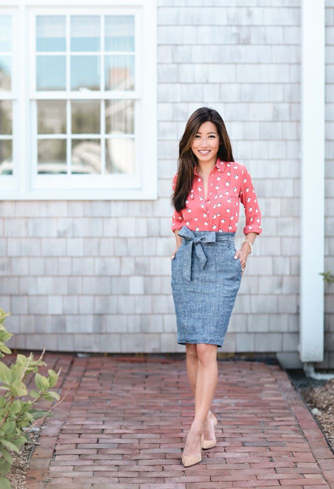 Summer Chambray Skirt Styled Two Ways | Casual Office Outfits Summer Business Casual And Casual ...