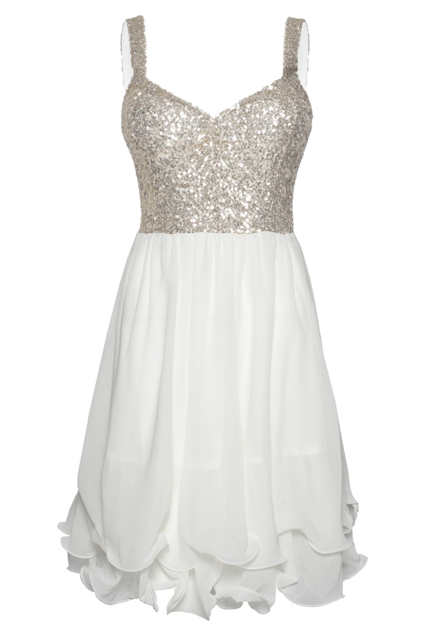 White Skater Dress with Sequin Embellished Sleeveless Top ...