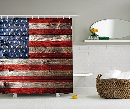 Themed Shower CurtainAmerican Flag Curtain Decor Country Emblem Painting On The Weathered Retro Wooden Set With Hooks