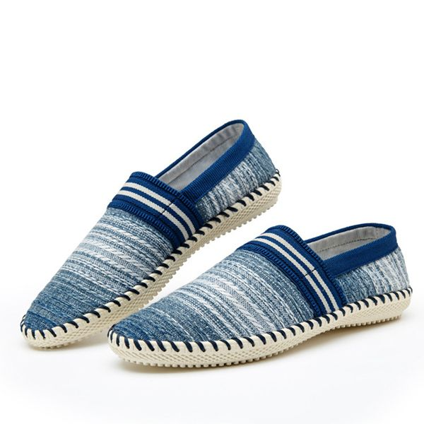 Casual Slip On Linen Cloth Breathable Soft Sole Flat Shoes Stripe