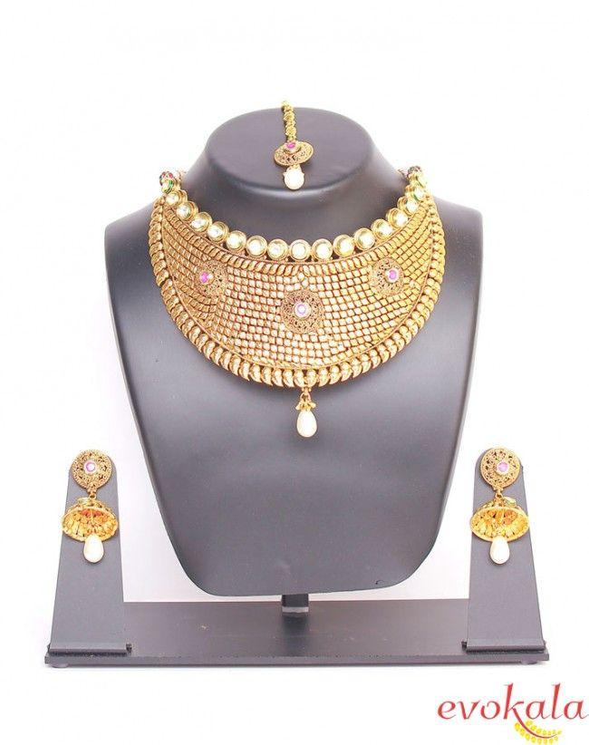 Royal Maharani Gold Necklace Set   TRADITIONAL NECKLACES SET ...